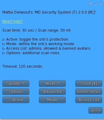 MD Security System – Owner menu