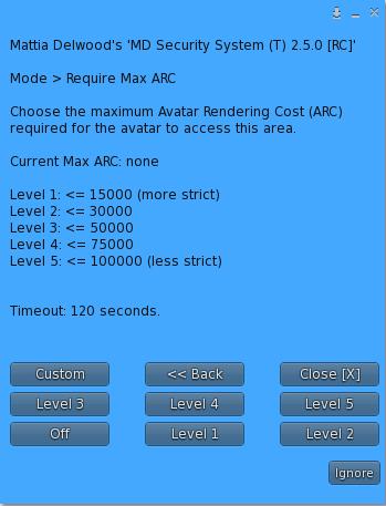 'Max ARC' setup dialog