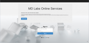 MD Labs Online Services login page
