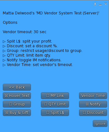 Owner Menu - Options