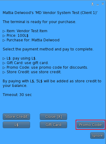 MD Vendor System - Promo code as payment method