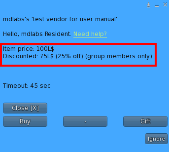 User Menu - Discount for group members