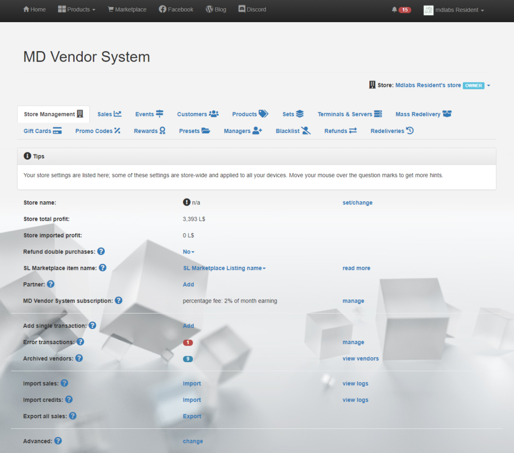 MD Labs Online Services – MD Vendor System homepage