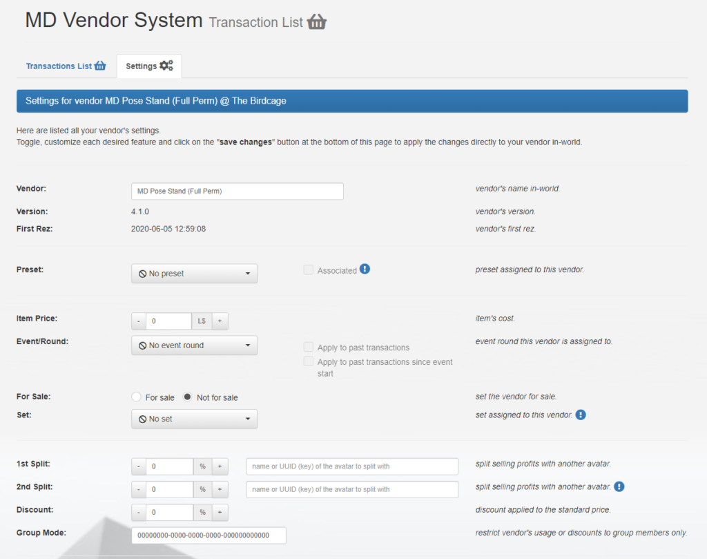 MD Vendor System details – Settings (1) (click to enlarge)