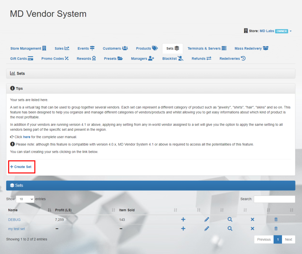 MD Vendor System Homepage - Sets tab (click to enlarge)