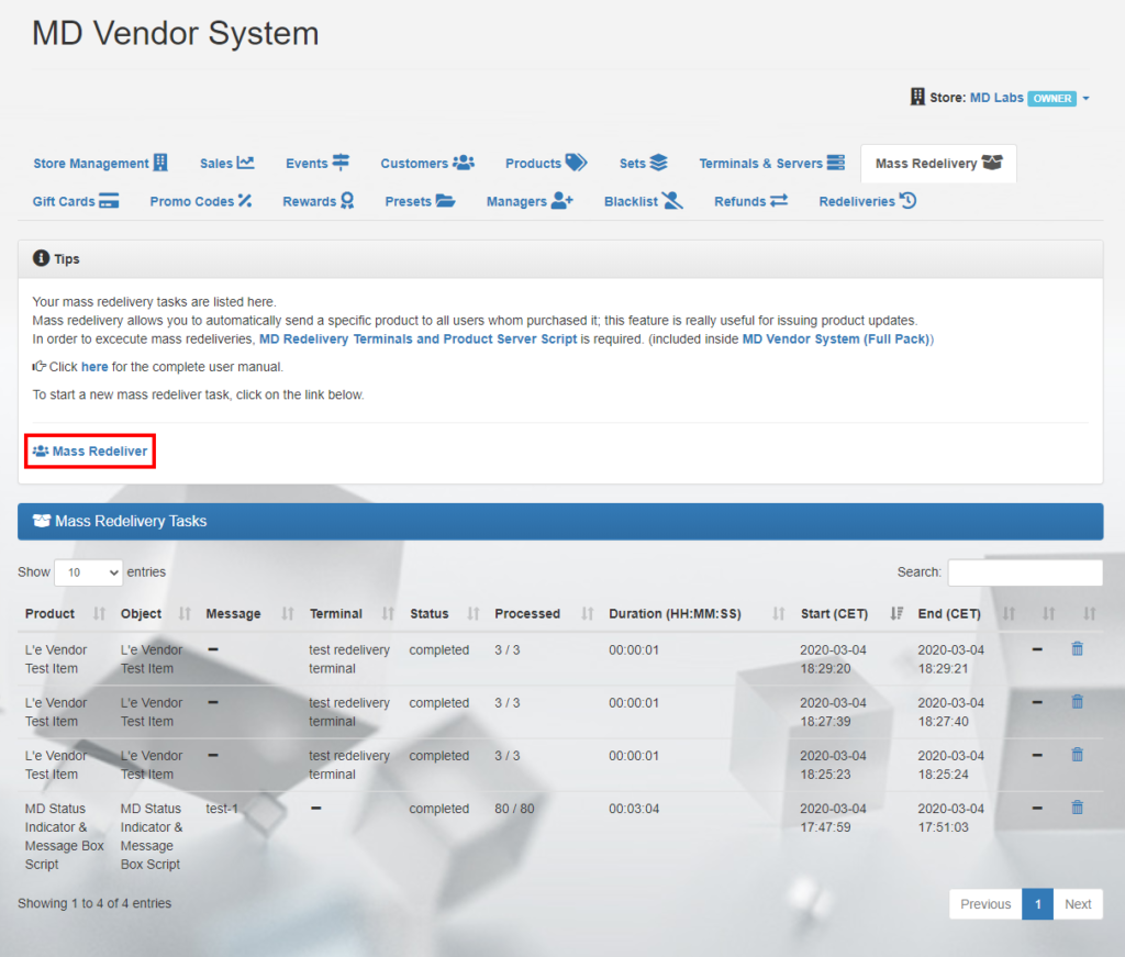 MD Vendor System Homepage – Mass Redelivery tab (click to enlarge)