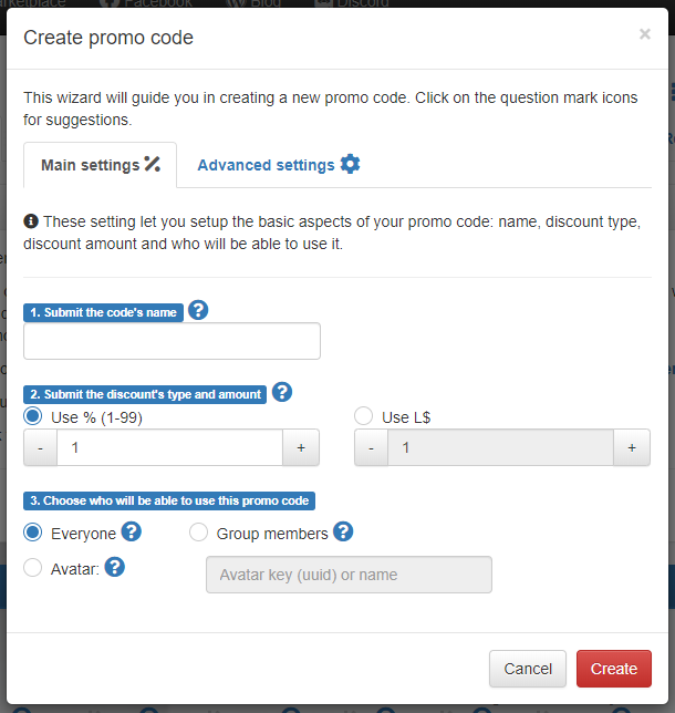Promo Code generation wizard – Main Settings