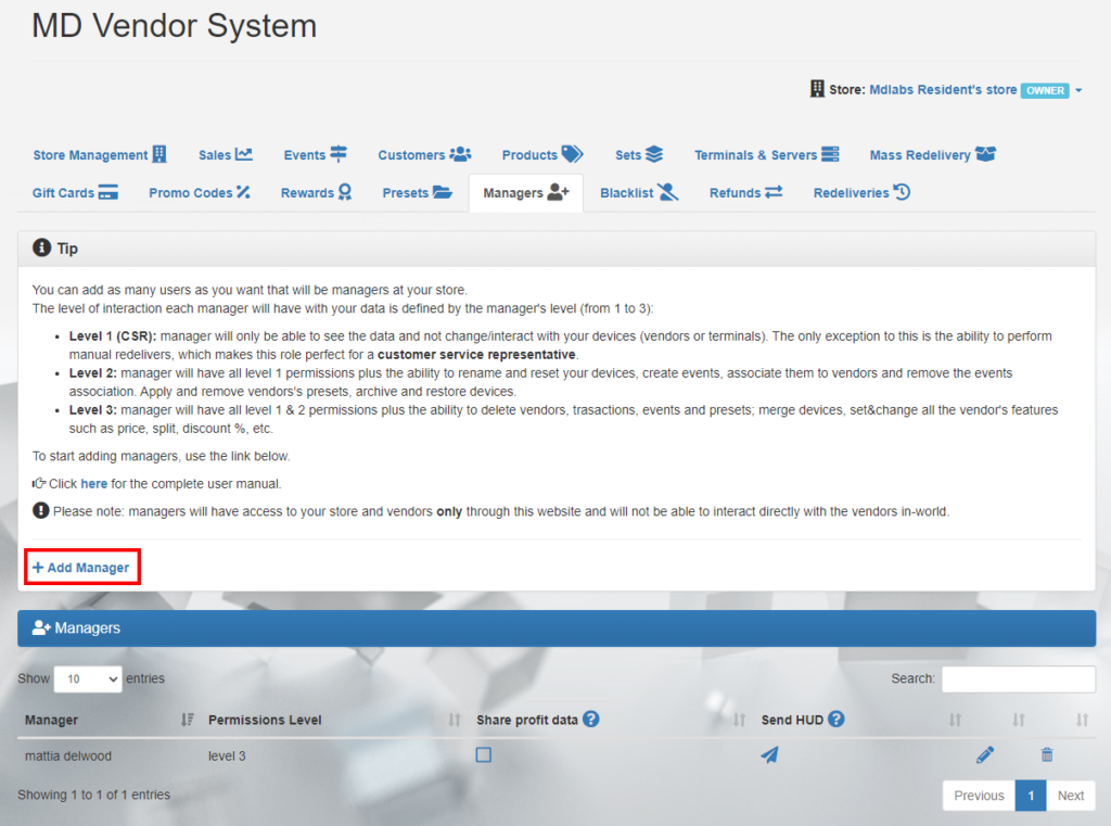 MD Vendor System Homepage – Managers tab (click to enlarge)