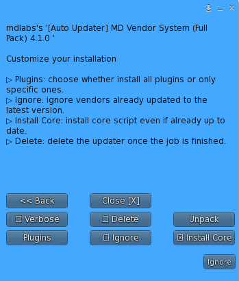 MD Vendor System Auto Updater – Options submenu