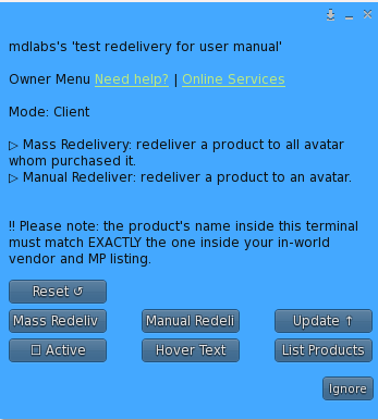 MD Redelivery Terminal & Product Server – Owner Menu