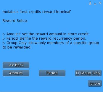 MD Credits Reward Terminal – Reward Setup Menu