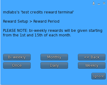 MD Credits Reward Terminal – Period selection Menu
