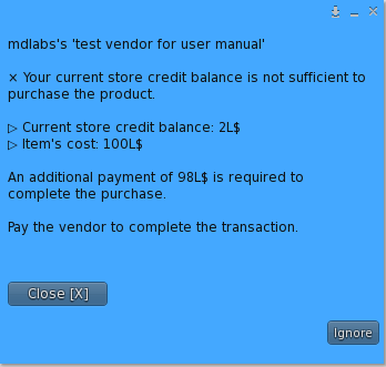 User Menu – Mixed Payment with store credits