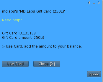 MD Gift Card – User Menu