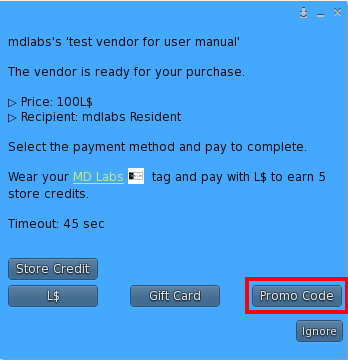 User Menu – Promo Code as payment method