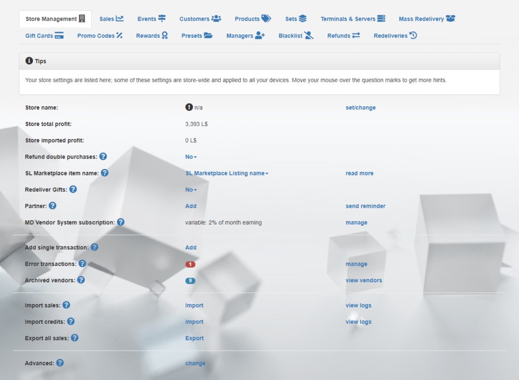 MD Vendor System Homepage – Store Management tab (click to enlarge)