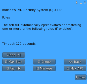 MD Security System – Rules submenu