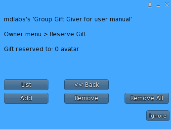 MD Group Gift Giver Script - Reserve Gift Menu