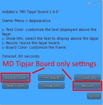 MD Tipjar - Appearance menu