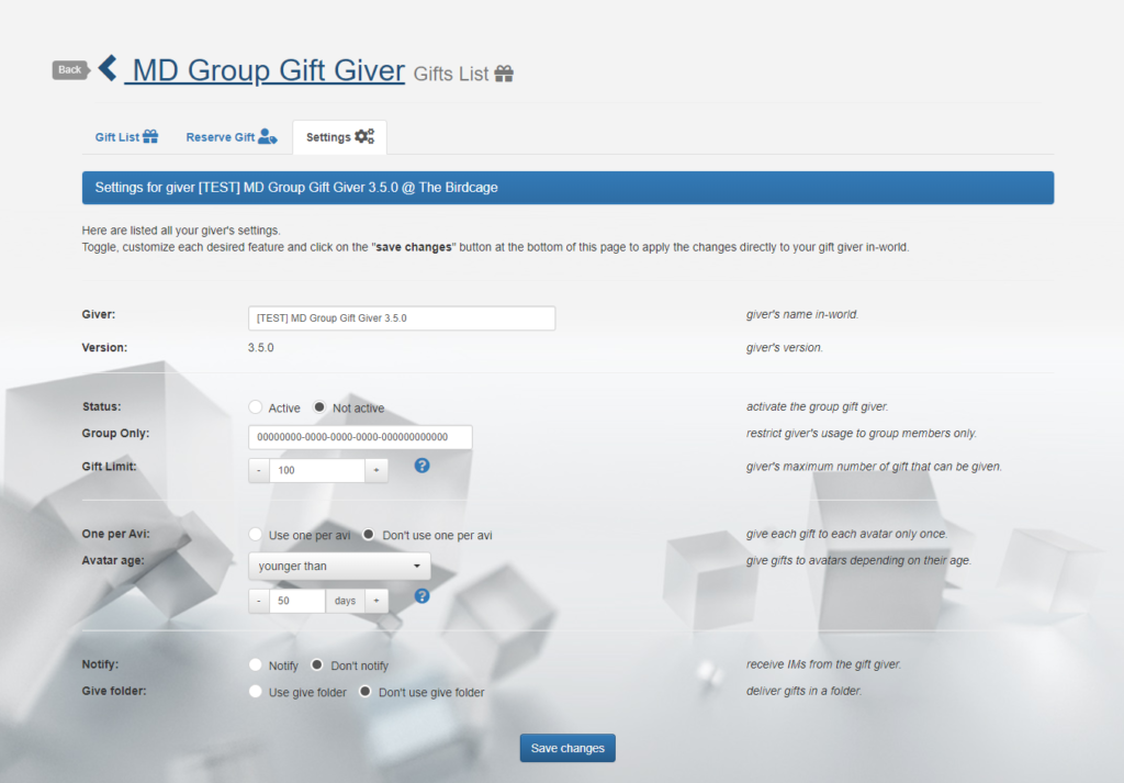 MD Group Gift Giver – settings (click to enlarge)