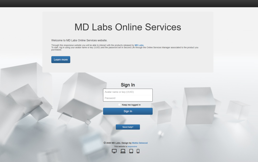MD Labs Online Services login page (click to enlarge)