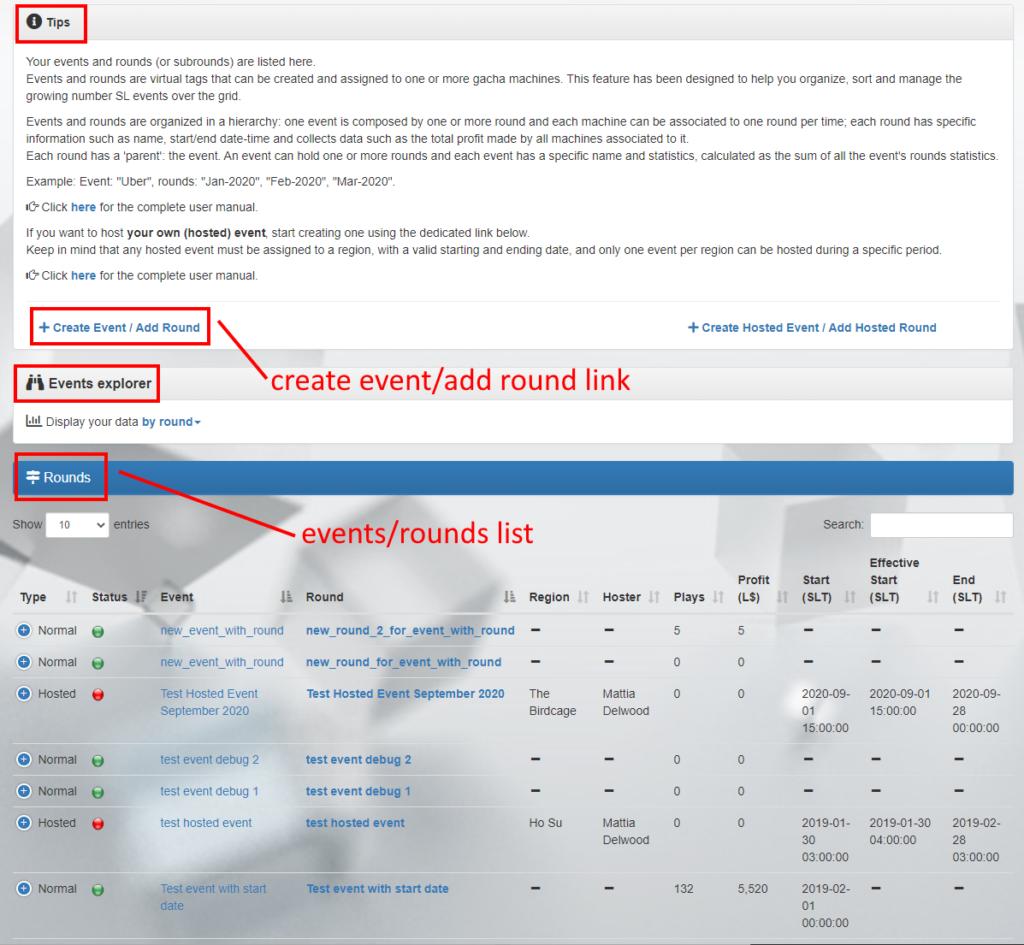 MD Gacha Machine Homepage– Events tab (click to enlarge)
