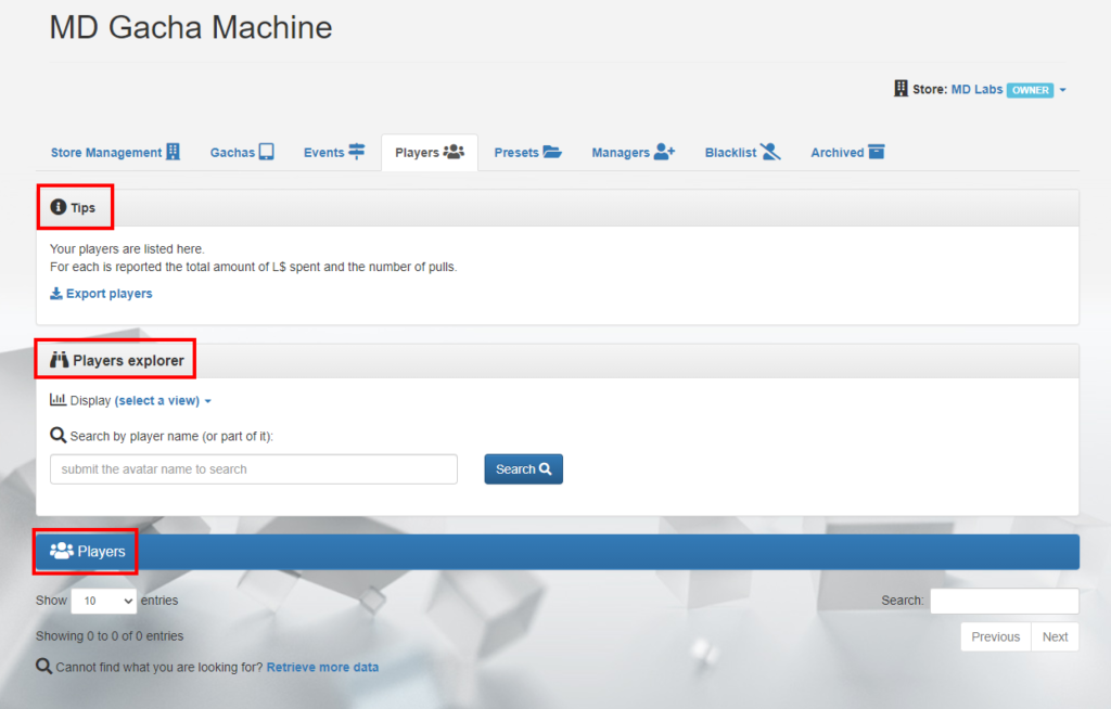 MD Gacha Machine Homepage – Players tab (click to enlarge)