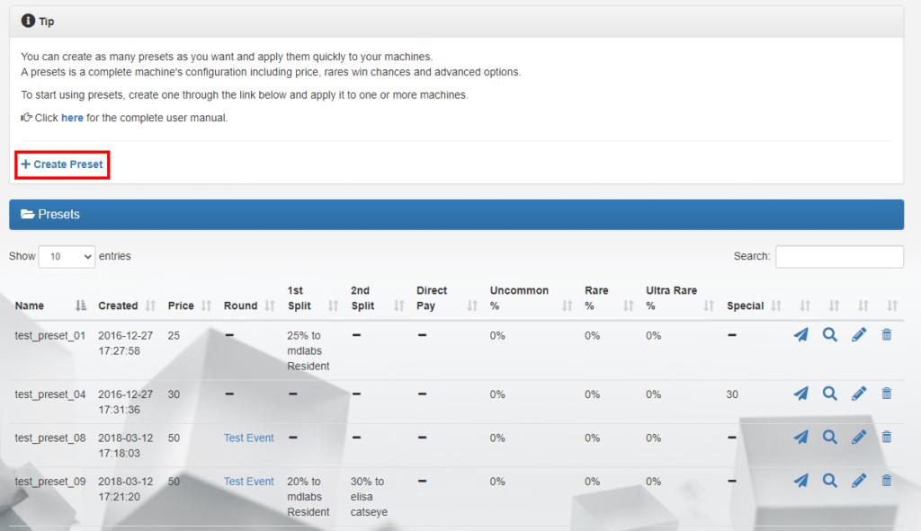 MD Gacha Machine Homepage – Presets tab (click to enlarge)