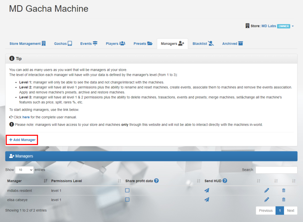 MD Gacha Machine Homepage – Managers tab (click to enlarge)