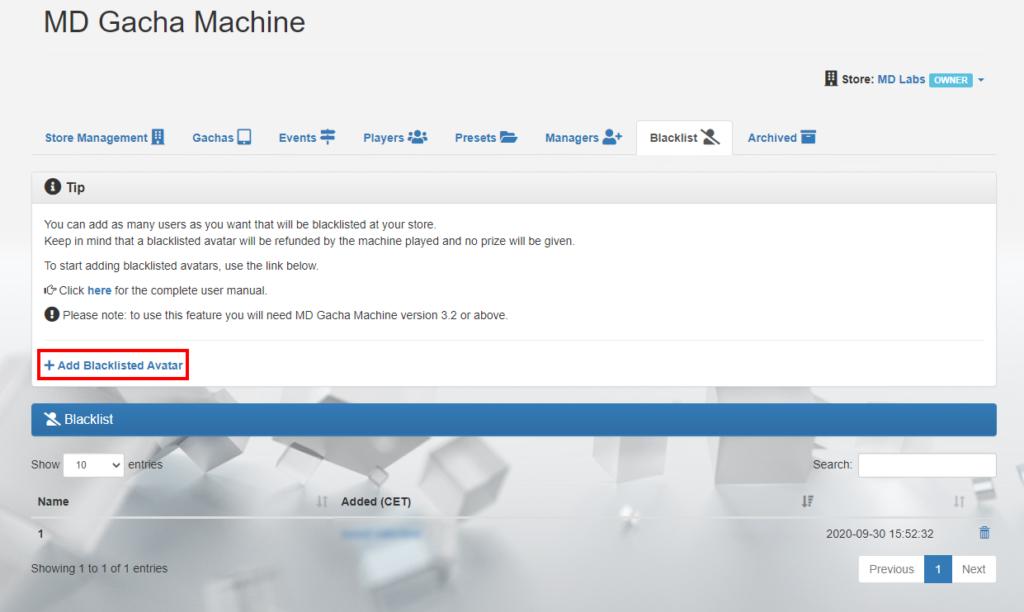 MD Gacha Machine homepage – Blacklist tab (click to enlarge)