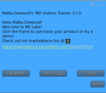 MD Visitors Tracker - Greeting window (example)
