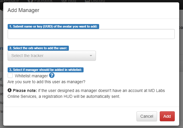 Managers – Add manager wizard
